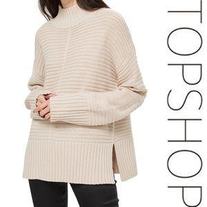 Topshop Mock Neck Sweater - oatmeal